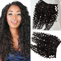 Clip de livraison gratuite dans les cheveux Remy Extensions de cheveux humains Natural Virgin Eurasian Clip dans les extensions de cheveux # 1 Couleur vague profonde 120g ensemble