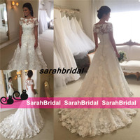 2017 A- line 3D Floral Appliques 2016 Cheap Lace Wedding Dres...