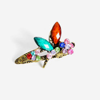 Nueva moda Mini joyería del pelo colorido de la vendimia Rhinestone cristalino libélula pinzas para el cabello garra accesorios para el cabello para mujeres regalo DHF235