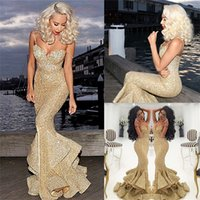 2018 New Gold Sequined Mermaid Prom Dresses Backless Front S...