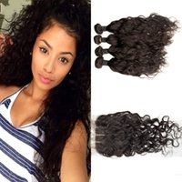 Indian virgin hair with closure natural black 4 pieces water...