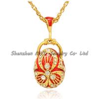 Joyería de moda regalos de graduación color esmaltado estilo ruso cristal 18 K chapado en oro Faberge huevo colgante collar con cadena