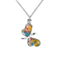 مجوهرات الحرق الملونة الزجاج فراشة جرة قلادة التذكار التذكار قلادة للرماد الإجهاض قلادة المرأة المنجد