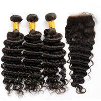 Filipino Virgem cabelo profundo onda com fecho 7a não processado cabelo humano encaracolado tecidos 3 pacotes e 1 peça superior fecho de renda Natural Black WeT