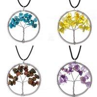Neueste Frauen Regenbogen 7 Chakra Amethyst Baum Des Lebens Quarz Chips Anhänger Halskette Multicolor Weisheit Baum Naturstein Halskette