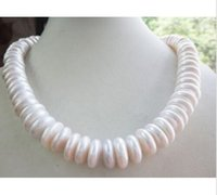 """14MM riesig SÜDSEE WEISSE COIN PEARL NECKLACE 18"""""""