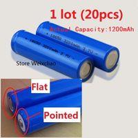 20pcs 1 로트 18650 3.7V 1200mAh 리튬 이온 충전지 3.7 볼트 리튬 이온 전지 양극 평판 또는 날카로운 무료 배송