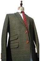 2016 Новый шерсть зеленый елочка смокинги Винтаж джентльмен стиль на заказ мужские костюмы портной блейзер костюмы для мужчин 2 шт. (куртка + брюки)
