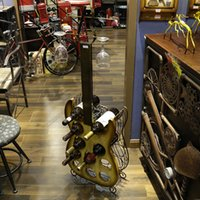 Wrought Iron Guitar- shape Red Wine Rack Glass Holder Furnish...