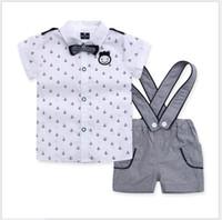 3 Adet Set 2016 Bebek Boys Donanma Tarzı Giyim Setleri Çocuk Kısa Kollu Çapa Gömlek + Askı Şort + Papyon Çocuklar Suits Boy Kıyafetler