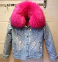 la conception de nouveaux trous réels col de fourrure de raton laveur ripped jeans en denim à manches longues épaississement de la doublure en fausse fourrure de femmes parka manteau court veste de Casacos