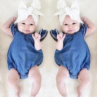 طفل الفتيات رومبير مع الدانتيل فقاعة الأكمام الدنيم الرضع من قطعة واحدة بذلة طفل أطفال ملابس أعلى جودة