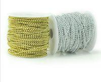 1 spule 50 meter 3mm Runde Perlen Überzogen Silber / Gold Girlande Kette Trim Für Haar Stying Hochzeit Dekoration Handwerk