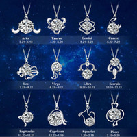 Высокое качество двенадцать созвездие стерлингового серебра ожерелье любителей, Лео, простой ключицы цепи кулон, студент шеи с серебром оптом