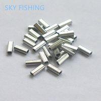 All'ingrosso-100 pezzi Pesce piega tubo di alluminio tubo da pesca tubo montato tubo filo clip tubo attrezzatura da pesca manica da pesca