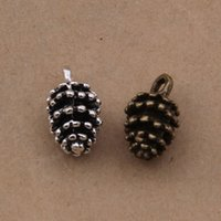 200 pcs 3D pine cone charms pendant antique silver and bronz...