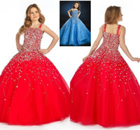 2020 princesa vendimia roja fuerte pavimento de pavimento de longitud vestido de bola para niños Pagones de fiesta para niños para niños pequeños Glitz Pagents Vestidos HY1281