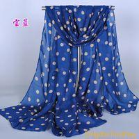 Supernova vendita elegante ragazza lunga morbida seta chiffon sciarpa avvolgere polka dot scialle sciarpa per le donne vendita calda