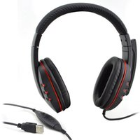 1 pcs Leather USB Wired Stereo Micphone Headphone Black Mic ...