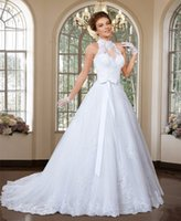 W010 A Line Wedding Dress with Detachable Train New Lace Sas...