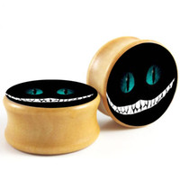 Cheshire Cat Nightmare Logo Wood Ear Plugs Flesh Tunnels Gau...