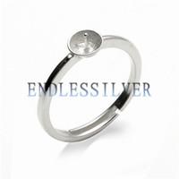 Простые настройки кольца Blank основной полосы частот 925 Sterling Silver DIY украшения Поиск Оправы для Pearl партии