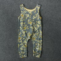 Baby girls yellow floral sleeveless onesie cute fashion infa...