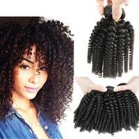 7а класс 3 связки сделок афро кудрявый вьющиеся волосы спираль локон ткать человеческие волосы перуанский девственные волосы вьющиеся волны тетушка Фунми упругие кудри Фуми