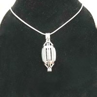 925 Silver American Football Locket Cage, Can Hold 9mm Pearl...