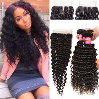 8A Raw Indian Deep Wave Human Hair Weft 3 Bundles With Lace ...
