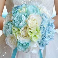 새로운 하늘 푸른 해변 결혼식 꽃 웨딩 부케 신부 들러리 인공 실크 로즈 신부 꽃다발 웨딩 액세서리
