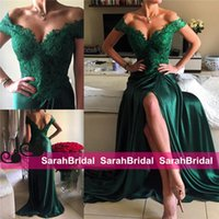 Sexy Emerald Green Split Prom Dresses 2016 Pretty Satin with...