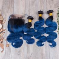Cierre de dos tonos negro a azul oscuro con encaje Paquetes de cabello humano brasileño Virgen Ombre cuerpo onda con 4 * 4 superior de encaje