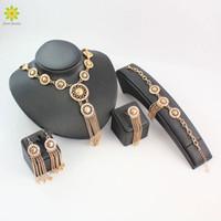Conjuntos de joyería fina para las mujeres chapado en oro traje africano collar pendientes conjunto borlas exageradas conjuntos de joyería declaración