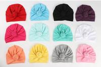 12 Colos Bebek Kız Pamuk Şapka Elastik Müslüman Bohemia düğüm Kap Moda Kapaklar Hindistan şapka Bebek Aksesuarları MZ232