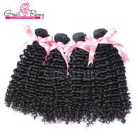 4PCS /ロットインド人間の髪の伸びの自然な黒い染め可能な巻き毛波の人間の髪の織り7A greatremy工場価格ドロップ輸送毛深い