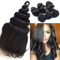 Brazilian virgin hair with lace frontal closure 100% human h...