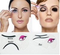 Heißer verkauf Katze Eyeliner Schablone Make-Up Eyeliner Schablonen Modelle Karte Makeup Tools Augenbrauenschablonen Kostenloser Versand
