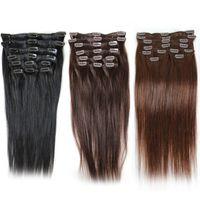 """Greatremy brasilianischer Klipp in Haarverlängerungen Staight # 1 # 2 # 4 120g / set Remy Haar-einschlag 20"""" 24"""" Clip Top-Qualität in der Haarverlängerung"""