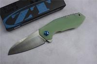envío ree, cuchilla plegable ZT0456 de alta calidad, hoja: D2 (Mancha), mango Jade G10, herramientas de mano para acampar al aire libre, venta al por mayor, regalos