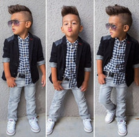 Spring fashion boys Clothes 3pcs Boys Black Jacket Long Slee...