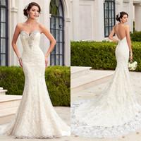 Venda quente Kittychen Branco Querida Sereia Vestidos de Casamento 2016 Apliques de Renda Sem Encosto Vestidos De Noiva vestidos de novia