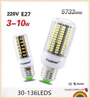 10PCS 3W 5W 7W 8W 10W E27 Lámpara LED SMD 5733 Bombilla LED de maíz AC 220V Luz LED Lampada 30Led 64Led 80Led 108Led 136Led Mejor que 5730