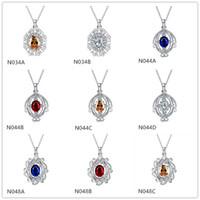 Смесь Заказать Мода женский драгоценный камень 925 серебряные ожерелье подвески смешанные стиль, стерлинговые серебристые подвесные ожерелья GTN5
