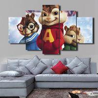 5 Adet / takım Alvin ve Sincaplar HD Dekoratif Sanat Resim Oturma Odası Ev Dekorasyonu Için Tuval Üzerine Boyama Boyama DH020
