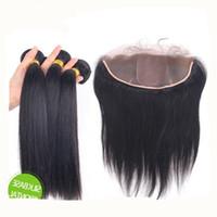 Heißes peruanisches Haar Ohr zu Ohr volle Spitze-Fronten mit Spitze-Fronten Seidige Bündel des geraden Haares mit Seidenbasis 4 x 4 Spitze-Fronten