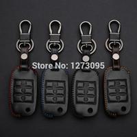 2014 2015 Couro Kia K3 cosido à mão Car Key Tampa Mão costura Case Bag Carteira Keychain Acessórios