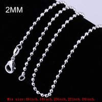 Mix Size 2mm Ball Chain Necklace 925 Sterling Silver Beads L...