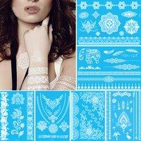 Geçici siyah beyaz kına dövme dantel tasarımlar flaş Gelin gerdanlık sahte dövmeler sticker Trendy su geçirmez dövme