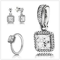 925 Sterling Silber Ring Ohrringe Schmuck Charms Anhänger Sets mit Box passt europäischen Schmuck Armbänder Halsketten-zeitlose Eleganz